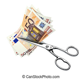 Cutting costs - scissors that cut euro banknotes on a white...
