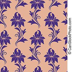 seamless pattern - purple flowers on a beige background