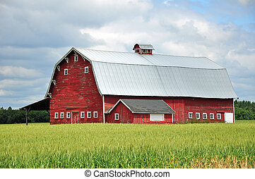 Old red bard - Old wooden red barn on the farm
