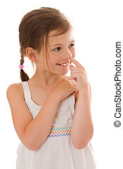 girl picking nose - Seven years girl picking her nose...