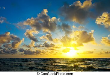 Sunrise over Atlantic ocean coast, FL, USA