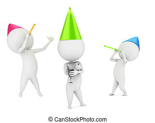 small guys celebrating - 3d rendered illustration of small...
