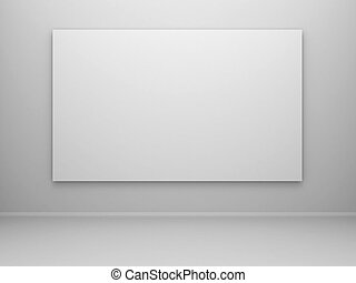 blank canvas - 3d rendered empty room with a blank canvas