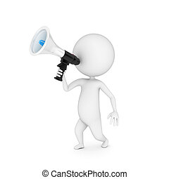little guy with a megaphone - 3d rendered illustration of a...