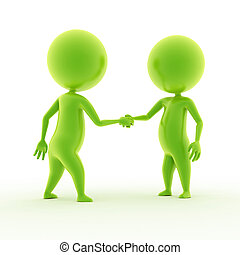 two guys shaking hands - 3d rendered illustration of two...