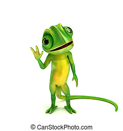 small cute chameleon - 3d rendered illustration of a small...
