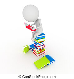 little guy reading books - 3d rendered illustration of a...