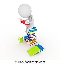 little guy reading books - 3d rendered illustration of a...