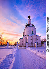 Russian church at winter sunset, Nizhny Novgorod area