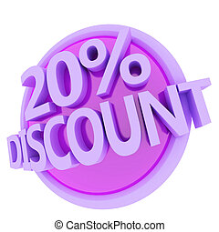 discount button - 3d rendered, green 20 percent discount...