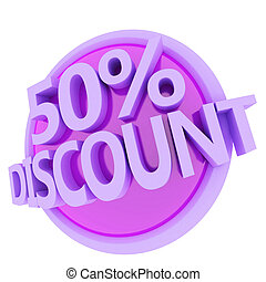 discount button - 3d rendered, green 50 percent discount...