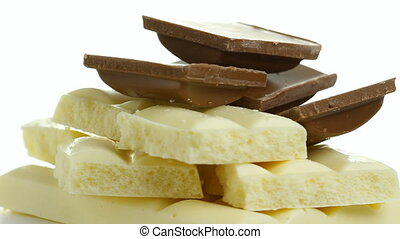 Chocolate rotates a white