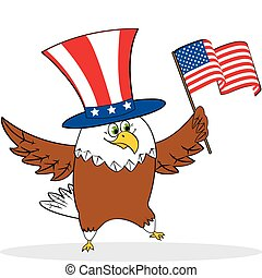 Cartoon patriotic eagle holding american flag. Vector...