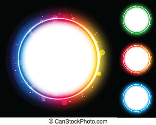 Rainbow Circle Border with Sparkles and Swirls. - Vector -...