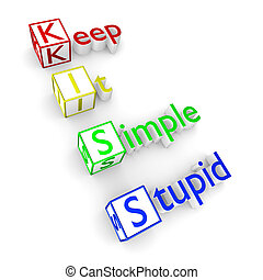KISS acronym - Keep It Simple Stupid principle, KISS text 3D...