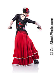 young woman dancing flamenco with castanets isolated on...