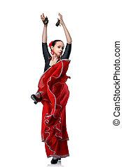 jeune, femme, danse, flamenco, Castagnettes, isolé,...