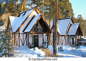 Houses in forest - Two small houses for recreation in forest