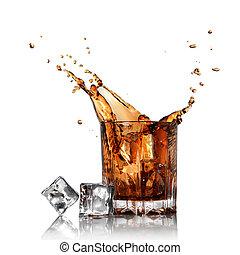 salpicadura, cola, vidrio, hielo, cubos, aislado, blanco