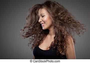 cabelo, Retrato, sorrindo, mulher, cacheados