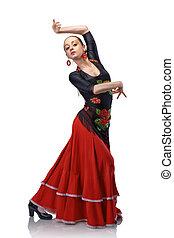 jeune, femme, danse, flamenco, Castagnettes, isolé, blanc