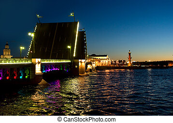Swing bridge in St. Petersburg.
