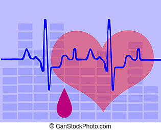 Heart and heartbeat background - Heart, heartbeat and drop...
