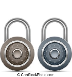 Combination Lock Collection Security Concept Vector...