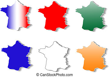form of France map stickers set isolated