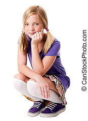 Happy teenage girl - Beautiful happy teenage girl sitting...