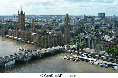 Aerial view of London UK - Aerial view of Big Ben, the House...