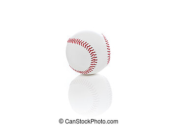 A clean white baseball against a white background