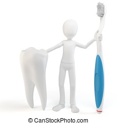 3d man with tooth and tooth brush isolated on white
