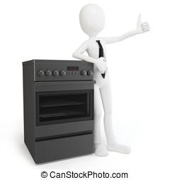 3D, hombre, cocina, estufa