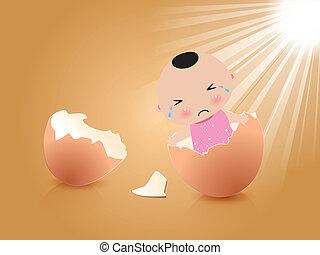 Vector - baby boy in broken egg