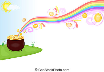 Pot of gold at the end of rainbow - Financial success - pot...