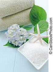 Sea Salt Bath Scrub in Spa Setting - Sea salt bath scrub set...