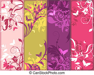 Banners set - Multicolored decorative vertical banners set...