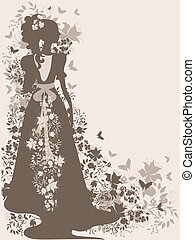 Vintage bride - Vintage background with flowers and bride...