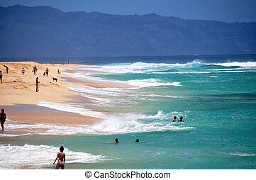 Breaking Waves - Big waves breaking on Oahu\'s famous north...