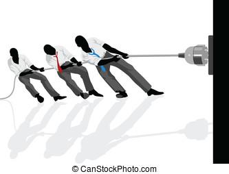 Unplug - Vector illustration of men pulling the plug