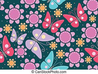 BUTTERFLIES_bizzare colour - Seamless pattern of butterflies...