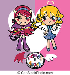 Angel and Demon - Adorable little girls wearing angel and...