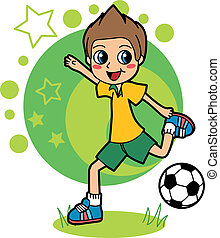 Soccer Kid - Little kid playing soccer and happy kicking...