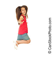 Cheerful girl leaping