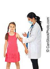 Doctor vaccine girl hand - Doctor woman vaccine girl hand...