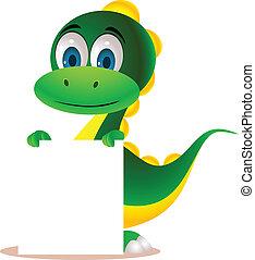 Cute dinosaur cartoon and blank sign
