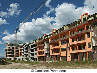 Construction industry and cran. New colored building