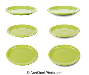 Set of green round plates or dishes isloated on white with clip