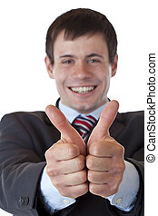 Closeup of a young manager holding both thumbs up